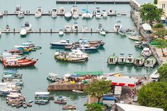 Harbor of Vessel in marina with boats royalty free stock images