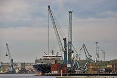 Harbor view. Cargo ship in the harbor. Fredericia, Denmark stock photography