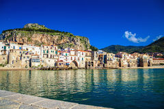 Harbor view of Cefalu, Sicily Stock Photo