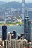Harbor view and city buildings of Hongkong Royalty Free Stock Photos