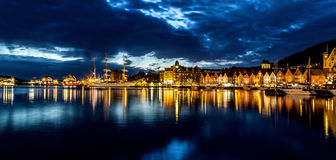 Harbor view at night stock images