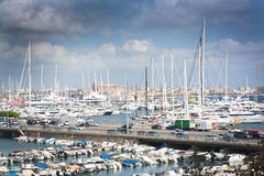Harbor view with white yachts and cathedral Stock Image