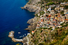 Harbor in the Village of Riomaggiore in Cinque Terre Stock Image