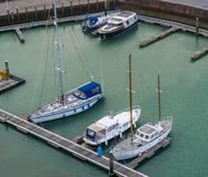 Harbor of Vlissingen, typical dutch boats at the docks, Zeeland, the Netherlands stock photography