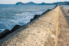 Harbor Wall, Castro Urdiales stock image