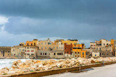 Harbor and waterfront in Trapani, Sicily Stock Image