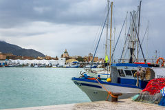 Harbor and waterfront in Trapani, Sicily Stock Photo