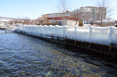 The harbor at Watkins Glen and Seneca Lake. Showing the Seneca Lake dock after winter storm Stella. One of the Finger Lakes of New York State. At 38 miles long royalty free stock image