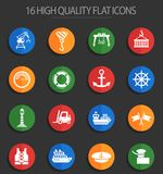 Harbor 16 flat icons. Harbor web icons for user interface design Stock Illustration