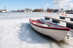 Harbor in the winter Stock Images