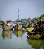 Harbor with Wooden Boats, Hoi An, Vietnam Stock Image