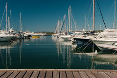 Harbor. Yachts parked in the sea port Royalty Free Stock Photography