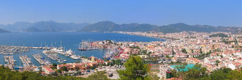 The harbor, yaht and beaches. Of Marmaris, Turkey Royalty Free Stock Photo