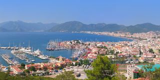 The harbor, yaht and beaches. Of Marmaris, Turkey Stock Photos