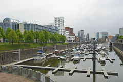 The harbor Zollhafen of Dusseldorf in Germany. View of the harbor Zollhafen of Dusseldorf in Germany Royalty Free Stock Photo