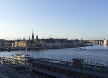 Harbors in Stockholm. A city line and water and boats in Stockholm royalty free stock photos