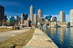 Harborside boston. View of boston from harbor and rowes wharf and skyscraper buildings in boston massachusetts Royalty Free Stock Photo