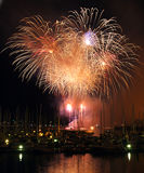 Harborside fireworks. Fireworks show in a marina Stock Photos