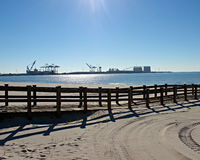 Harborview. View of the harbor from the sandy beach of the gulf Stock Image