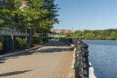 Harborwalk Curving Along Charles River In Waltham Royalty Free Stock Photo