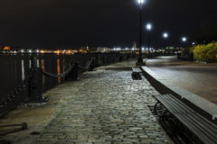Early morning Fan Pier South Boston. Harborwalk in South Boston looking toward Logan Airport Royalty Free Stock Images