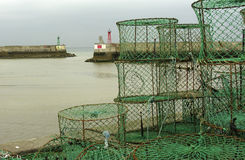 Harbour. French harbour-entrance with lopstertraps Stock Photo