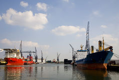 Harbour 2. View on the Port of Rotterdam, Holland Royalty Free Stock Photography