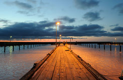 Harbour. Frozen harbor with a pier Royalty Free Stock Photos