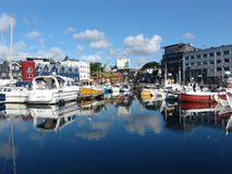 Harbour. Bay in Thorshavn, capital of Faeroess royalty free stock images