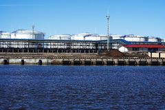 Harbour. Oil terminal Royalty Free Stock Images