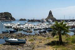 Harbour acireale. Boats on the marina of Acireale, Catania stock photo