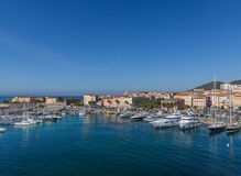 The harbour in Ajaccio on the island of Corsica. With different boats in from the sea Stock Photo