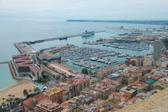 Harbour of Alicante in Spain stock photography