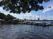 Harbour. Alster , Hamburg, Germany Royalty Free Stock Photo