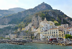 Harbour of Amalfi town, Italy. View of the mediterranean harbour of Amalfi, Italy Royalty Free Stock Image