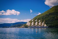 Harbour and amazing ship at Boka Kotor bay (Boka Kotorska), Montenegro, Europe. Harbour and boat at Boka Kotor bay (Boka Kotorska), Montenegro, Europe royalty free stock images