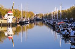 Harbour on autumn morning with blue sky Royalty Free Stock Photos