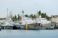 Harbour of Balaklava, Crimea, Ukraine. With ukrainian war ships. Royalty Free Stock Photos