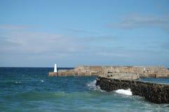 Harbour with beacon on Moray Coast, Scotland Stock Photos