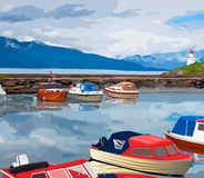 Harbour with boats. On Norway fjord Stock Photography