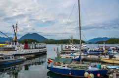 Harbour boats. Boats in Tofino harbour on the west coast of Vancouver Island Stock Photography