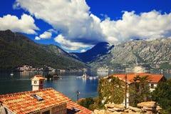 Harbour at Boka Kotor bay (Boka Kotorska), Montenegro, Europe. Harbour and yachts at of Boka Kotor bay (Boka Kotorska), Montenegro, Europe stock images