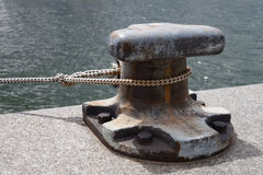 Harbour, bollard and rope. Detail royalty free stock photography