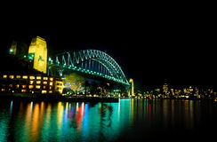 Harbour bridge. Sydney Harbour Bridge at night with lights on Stock Photography