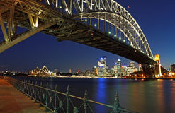 Harbour Bridge. This shot was taken shortly after sunset from Milson Points royalty free stock images