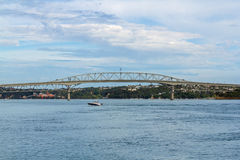Harbour Bridge Auckland New Zealand - View from Waterfront. Fishing spot Royalty Free Stock Photography