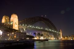 Harbour Bridge in the night Stock Images