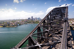 Harbour Bridge and North Sydney, Australia. SYDNEY - JANUARY 9 : The Sydney Harbour Bridge was opened  in 1932 and connects Sydney to the North Shore .  January Royalty Free Stock Photo