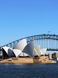 Harbour bridge and Opera House. Sydney Opera House andd Harbour bridge in Australia. Copyspace Royalty Free Stock Photos
