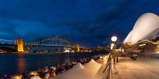 Harbour Bridge and Opera House in Sydney at dusk Stock Photography